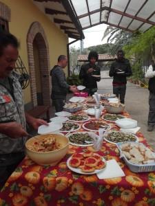 Il pranzo preparato dalla famiglia D'Alesio