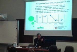 Martino Rebonato illustra il risultato della mappatura delle strutture che nel Lazio si occupano dell'accoglienza residenziale dei nuclei mamma-bambino
