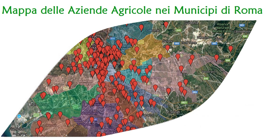 Mappa delle aziende agricole di Roma