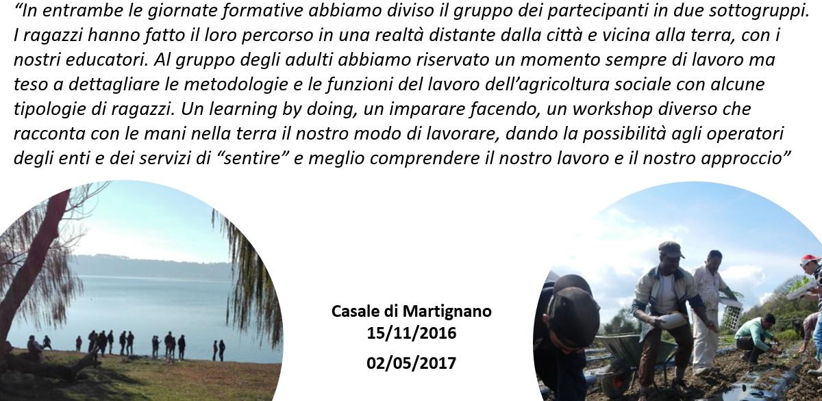 Al Casale di Martignano, workshop in autunno e primavera. Insieme ai ragazzi ma anche ad assistenti sociali, professionisti del sociale e dell'ambito agricolo, educatori e semplici curiosi