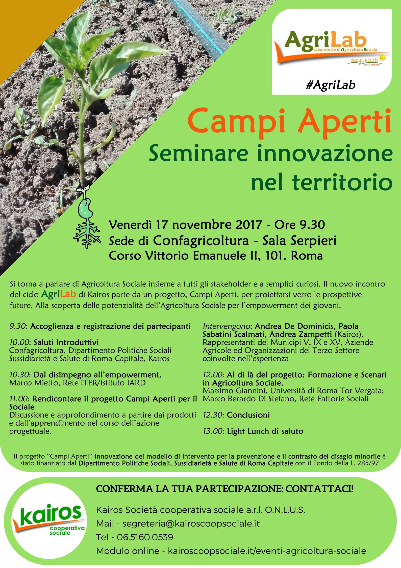 """Il programma dell'AgriLab """"Campi Aperti. Seminare innovazione nel territorio"""""""