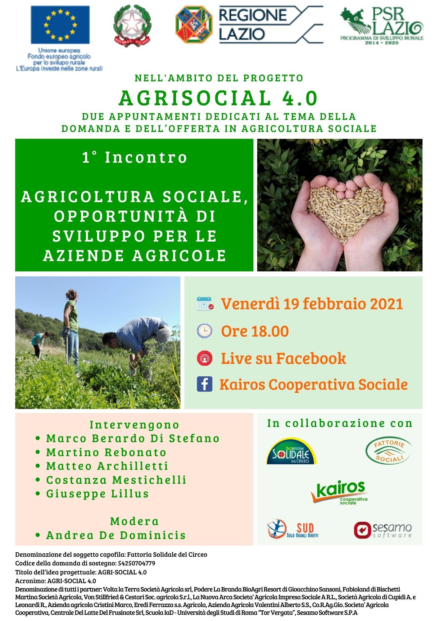 Locandina della Live sulle opportunità di sviluppo per le aziende agricole